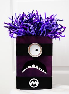 Purple Minion Valentine Box - All Things Thrifty Home Accessories and Decor