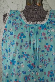 Vintage Mixed Prints Blue Floral Shift Nighty - M/L on Etsy, $25.00