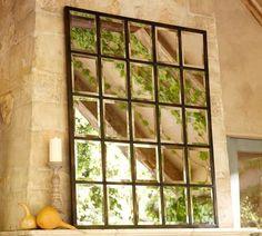 use large paned window and spray w/mirror spray paint..?