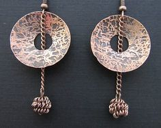 Etched Copper Circles with Center Chain Drop Handmade Earrings OOAK, Free US Shipping
