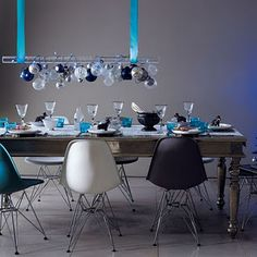 Ornament chandelier - modern Christmas tablescape