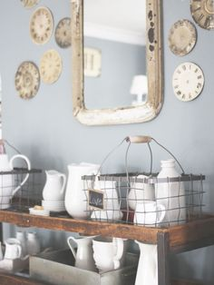 dining rooms, ralph lauren, old clocks, clock faces, cottage look, glass, paint colors, white dishes, wire baskets