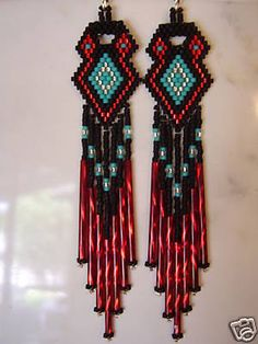 Native American Beaded Earrings in Red and Turquoise