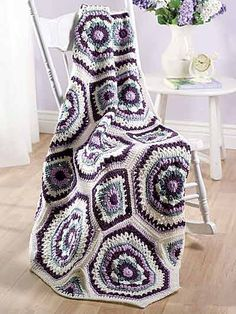 Crochet Afghans - Assorted Crochet Afghan Patterns - Violet Rings