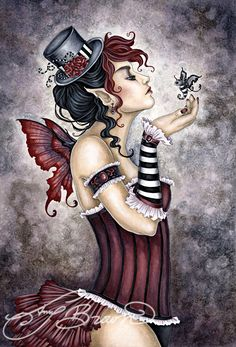 Art Print - Fae Risque by Amy Brown-Amy, Brown, corset, frills, wings ... ♡♥♥!!!  ;-)