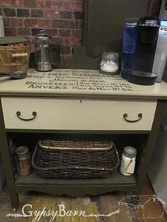 Coffee station from repurposed furniture, old dressers and such.