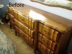 My Romantic Home: Painting Furniture-Step by Step  This is what I love about repainted furniture.  The flea market or Craig's List find and the end result so much better than the original which is pictured here.