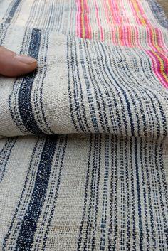 Handwoven Hmong, Vintage hemp fabric,  textiles and fabrics- Table runner,. $49.99, via Etsy.