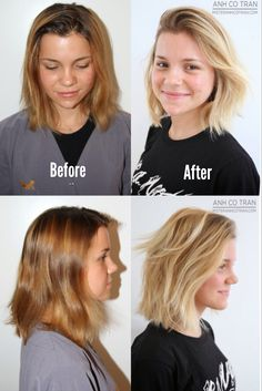 Amazing before and after hairstyle! Cute, layered bob.
