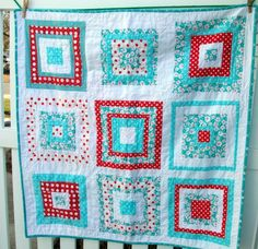 Cute log cabin quilt- I LOVE these colors, would love to make a quilt with this color scheme :)