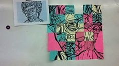 Great 1 day collaborative class exercise using post-its to illustrate the grid drawing technique. They loved it. They had no idea ahead of time what the image was and it was like magic when it was slowly pieced together.