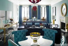 Mad Men Decorating Style - 1960s Decorating Ideas - House Beautiful, study for Shawn wall colors, interior, houses, living rooms, madmen, decorating ideas, mad men, blues, red glass
