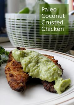 Coconut Crusted Chicken with Avocado Sauce (AIP version), autoimmune paleo diet