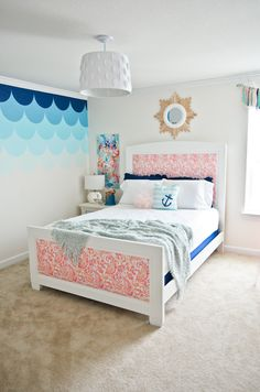 DIY Upholstered Bed - love this look for a kids room, but could easily swap out material for a master bedroom!