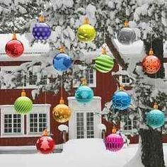 Use the plastic unbreakable ornaments (in case they fall).  Big Lots has good selection.  Beautiful !