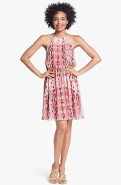 Print Pintucked Chiffon Dress