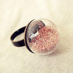 Pink Glitter Globe Ring by Dear Delilah