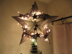 Shabby Chic White Christmas Tree Star Topper