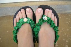 DIY Ribbon Flip Flops ...... These would be perfect for St. Patty's Day and could be done for any and every holiday. God knows I love shoes & flip flops.