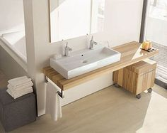 basement bathroom, bathroom furniture, modern bathroom, duravit vero, master bathrooms, bathroom designs, bathroom sinks, master baths, wood countertops