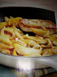 Paleo onion-apple pork chops.