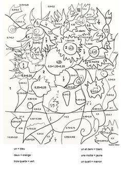 Van Gogh : Les Tournesols - coloriage magique sur les fractions