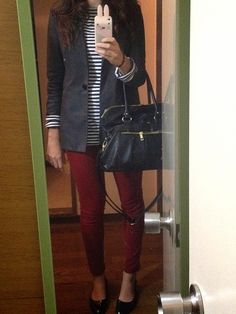Burgundy skinny jeans, stripped shirt, casual outfit
