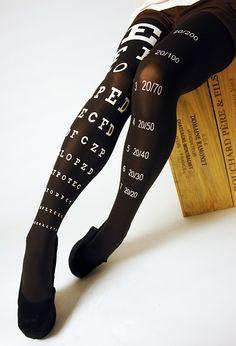 Eye Exam Printed Tights! http://www.nylonjournal.com/eye-exam-chart-printed-tights.html