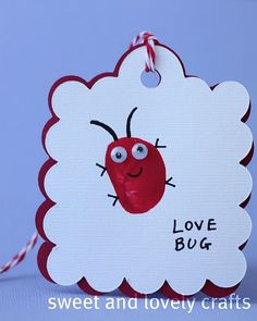 "9 Homemade Valentine Ideas For Kids...love this ""love bug"" thumbprint!"