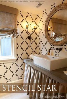 A creative variation with the Large Moorish Trellis Stencil on bath walls | Anything But Plain Decorative Finishes and Plasters