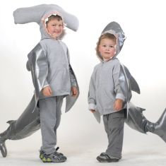 DIY hammerhead and great white shark sweatshirt costumes