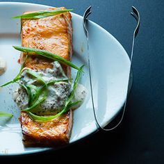 Chile-Garlic Broiled Salmon with Ginger Yogurt Sauce by tastingtable: It's fast, light and simple--and the perfect pick-me-up for your next banquet feast or a quick weeknight dinner. #Salmon #Chile #Garlic #Miso #Yogurt #Healthy #Easy  \