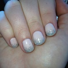 Nude shellac nails with glitter