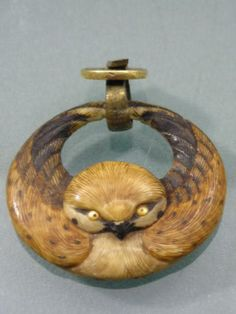 RARE FINE MEJI JAPANESE HAND CARVED OWL PENDANT  BAIL