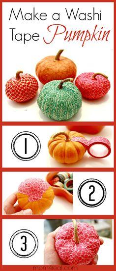 Make a Washi Tape Pumpkin at mom4real.com