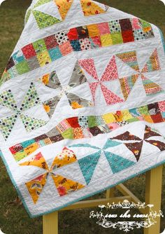 Pinwheels and Postage Stamps Baby Quilt
