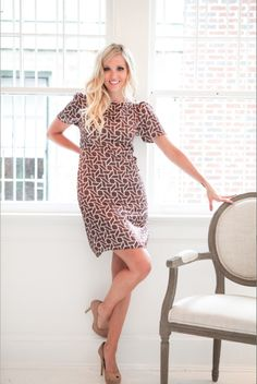 WHITE COLLECTION Paces dress - brown geo $54
