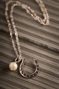 Lucky Horseshoe Necklace on BourbonandBoots.com #horseshoe #jewelry #pearls