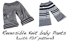 Reversible knit baby pants with pdf pattern (3-6m) kids clothes, baby gifts, revers knit, sew baby, kids fashion, babi pant, baby knits, babies clothes, knit babi