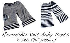 Reversible knit baby pants with pdf pattern (3-6m)
