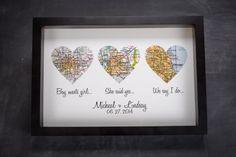 Atlas Map Hearts Print | Wedding Gift | Define Design 11 | Bourbon & Boots The Knot, Wedding Anniversary, Paper Gifts, Gift Ideas, Atlas Map, Map Heart, Anniversary Gifts Maps, Diy Wedding, Wedding Gifts