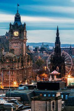 Dusk in Edinburgh, Scotland