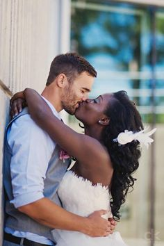 Beautiful interracial couple on their wedding day #love #bwwm #wmbw