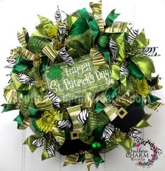 Deco Mesh Happy St. Patrick's Day Wreath Green Zebra Leprechaun Boots Sign by www.southerncharmwreaths.com SOLD green zebra, wreath green