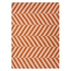 Orange split chevron rug