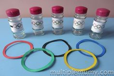 Make a fun Olympic hoopla game - hand eye co-oridination and colours!