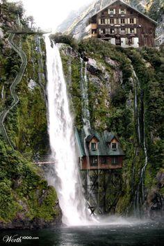waterfalls, dream homes, amaz, switzerland, beauti, travel, dream houses, place, waterfal hous