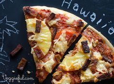 We're dreaming of the tropics on this rainy day. Cue a Vegan Hawaiian Pizza to lift our spirits! vegan hawaiian pizza, vegan pizza, veganfood, pizza recipes, vegan recip, homemade pizza