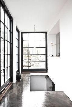 polished concrete, cottag, contemporary homes, door, interior architecture, black windows, industrial design, concrete floors, bedroom windows