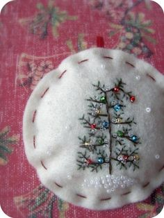 tiny tree embroidery with seed pearl ornaments